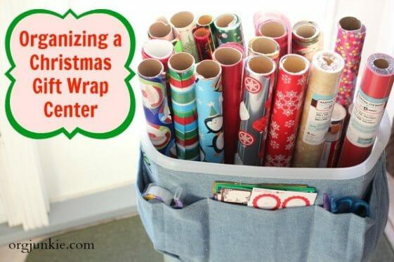 Organizing a Christmas Gift Wrap Center