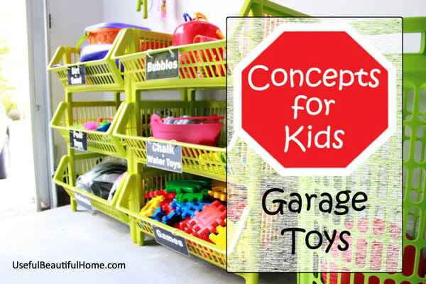 Great ideas for organizing garage toys plus free printable labels at I'm an Organizing Junkie