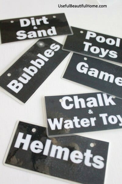 Free Garage Toy Printable Labels
