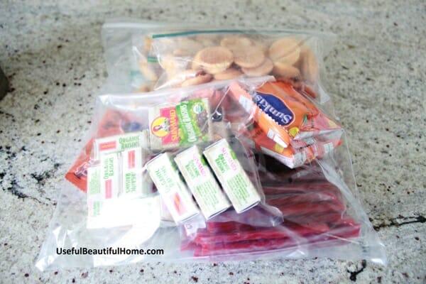 individual snacks in large ziplock