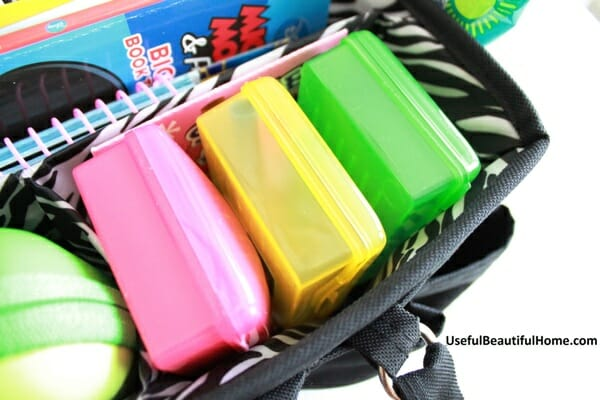 soap boxes inside busy bag
