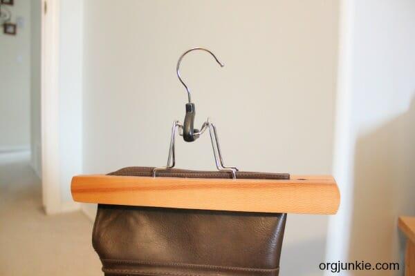 Pant hanger boot storage 2