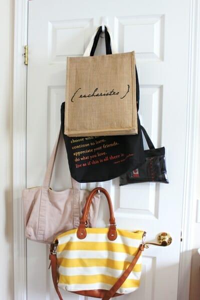 bags on the back of door