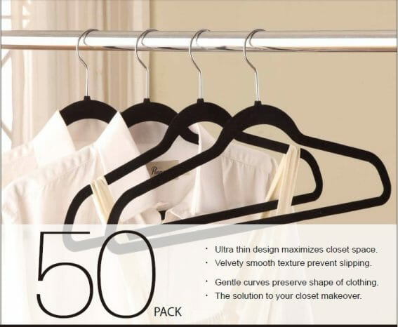 thin hangers will double your closet space