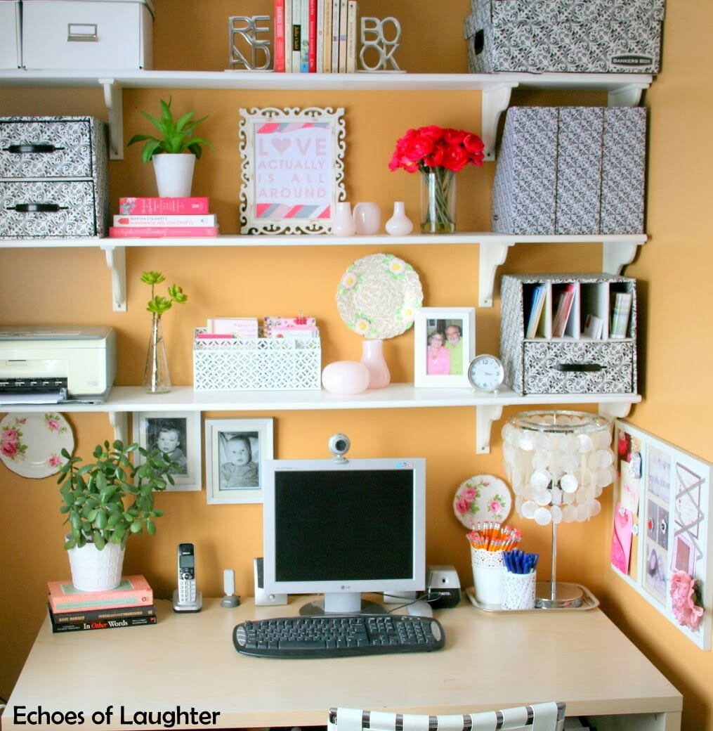 3 Tips for creating a cute cozy office nook at I'm an Organizing Junkie blog