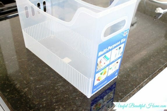 Perfect sized bin for organizing a top freezer