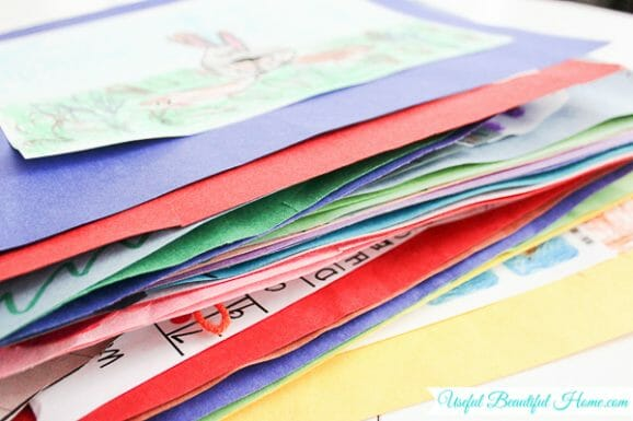 Have a pile of school papers and art... try organizing them this way