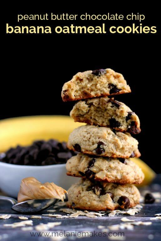 peanut butter chocolate chip banana oatmeal cookies mm