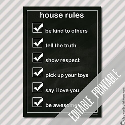 Free Printable House Rules Printable (editable)