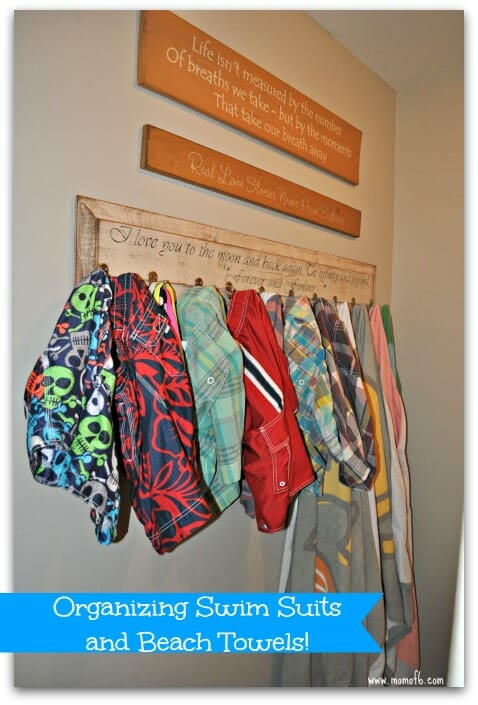 Organizing swim suits and beach towels