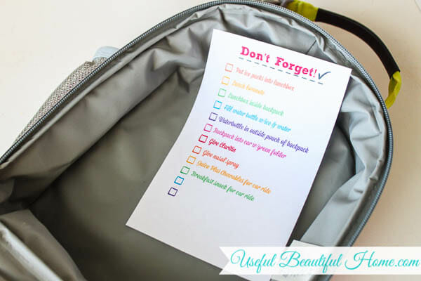 Print off a list of daily to-do's for your school morning routine