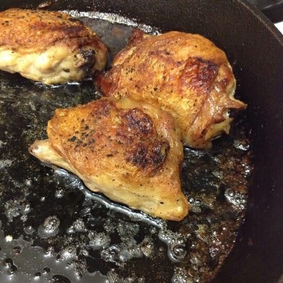 Crispy Pan Fried Chicken Thighs