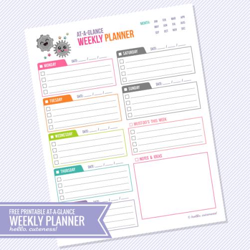 At a Glance Weekly Calendar