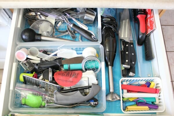 Disorganized drawer before