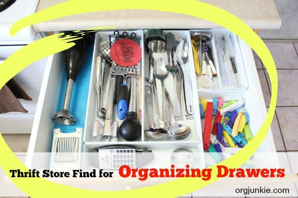 Thrift store find for organizing kitchen drawers at I'm an Organizing Junkie blog