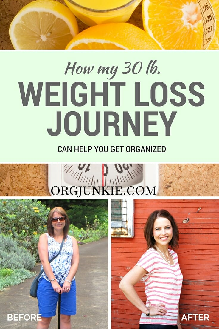 how my 30 lb weight loss journey can help you get organized at I'm an Organizing Junkie blog