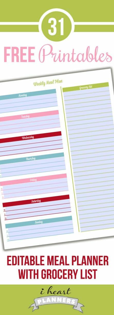 editable menu planner