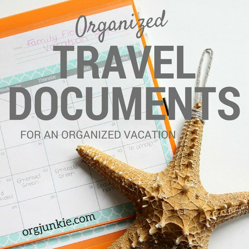 Organized Travel Documents for an Organized Vacation at I'm an Organizing Junkie blog
