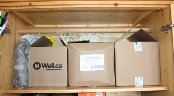 three cardboard boxes for gift storage for the kids