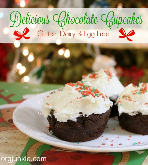 Gluten Dairy Egg-Free Chocolate Cupcakes at I'm an Organizing Junkie blog