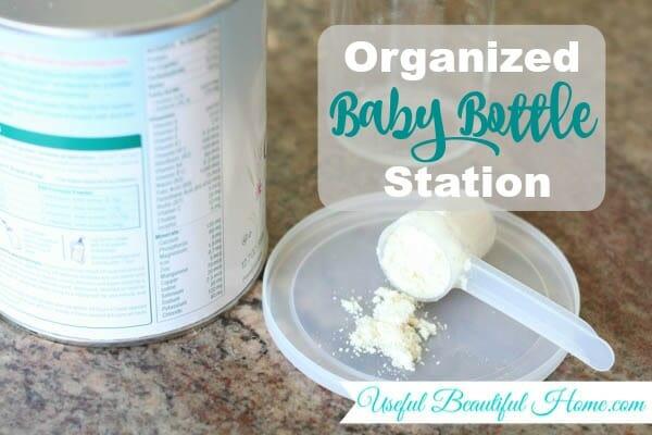 Organized Baby Bottle Station at I'm an Organizing Junkie blog