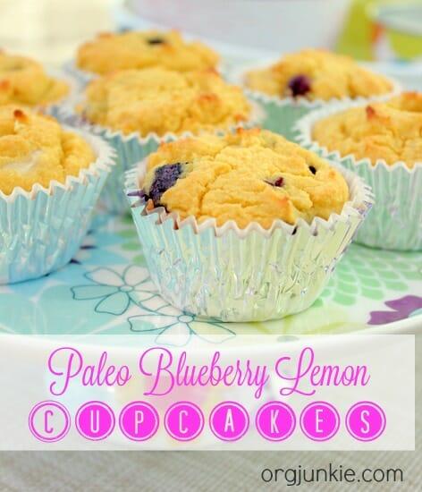 Paleo Blueberry Lemon Cupcakes at I'm an Organizing Junkie blog