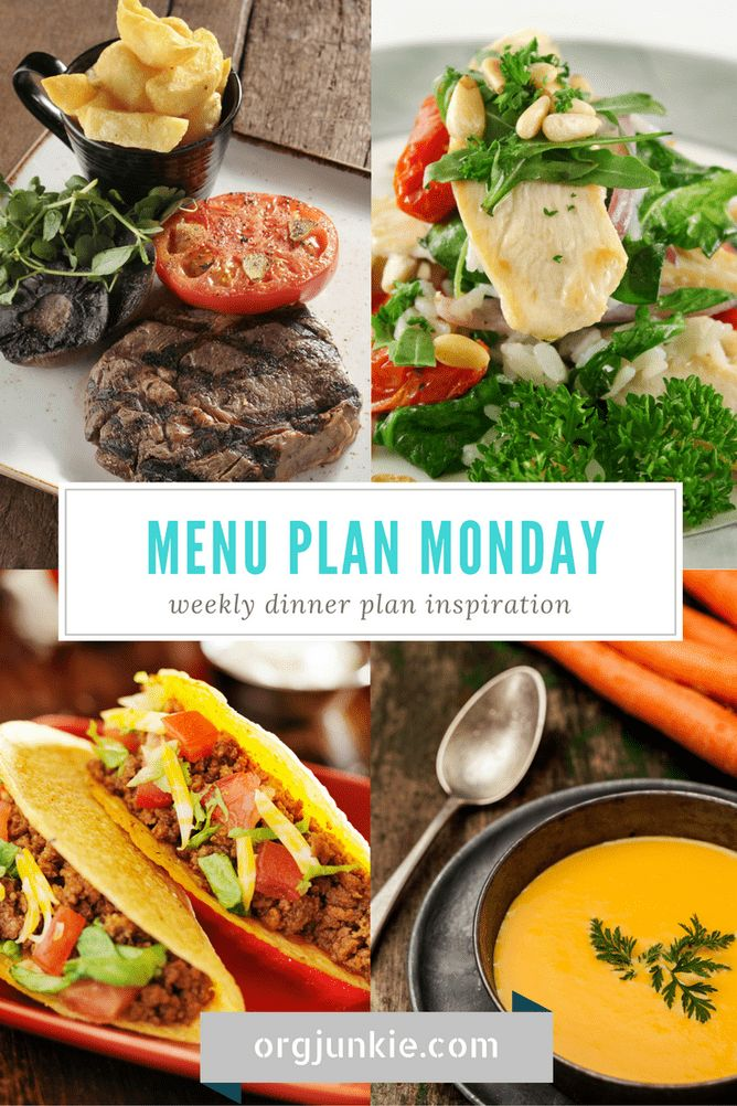 Menu Plan Monday for the week of Jan 23/17 - weekly dinner plan inspiration to help you get dinner on the table stress and chaos free!