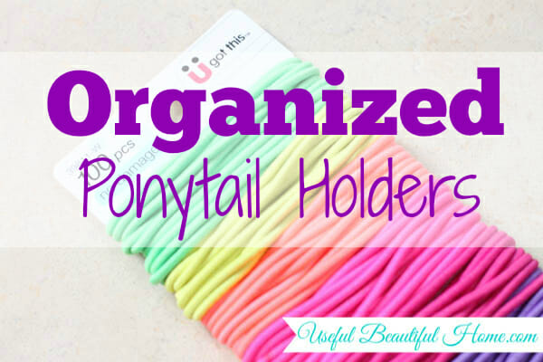 Easy and efficient tip for organized ponytail holders at I'm an Organizing Junkie blog