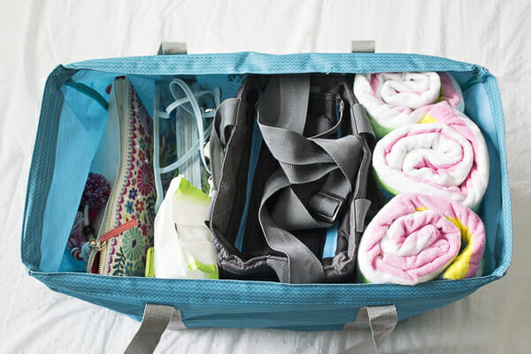 Pool Tote Essentials Organized & Ready to Go at I'm an Organizing Junkie blog