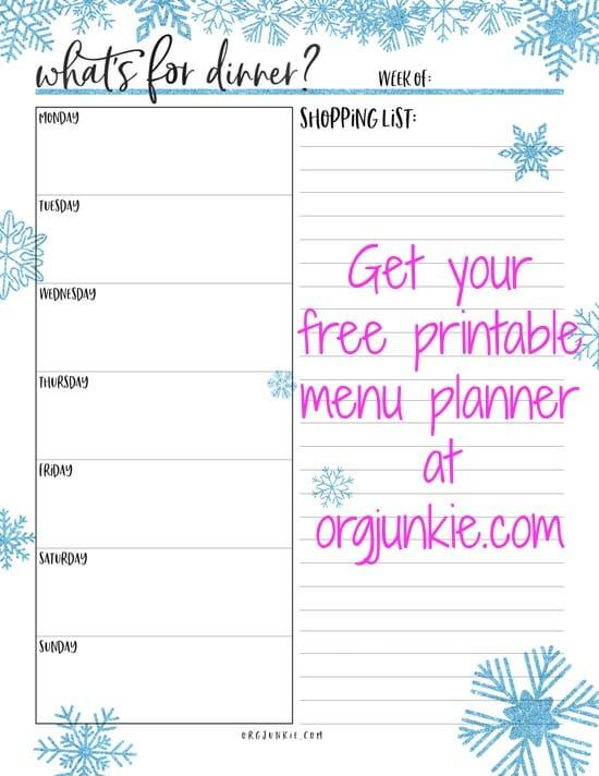 free printable menu planner at I'm an Organizing Junkie blog