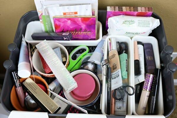Ikea Raskog Cart Makeup Organization at I'm an Organizing Junkie blog