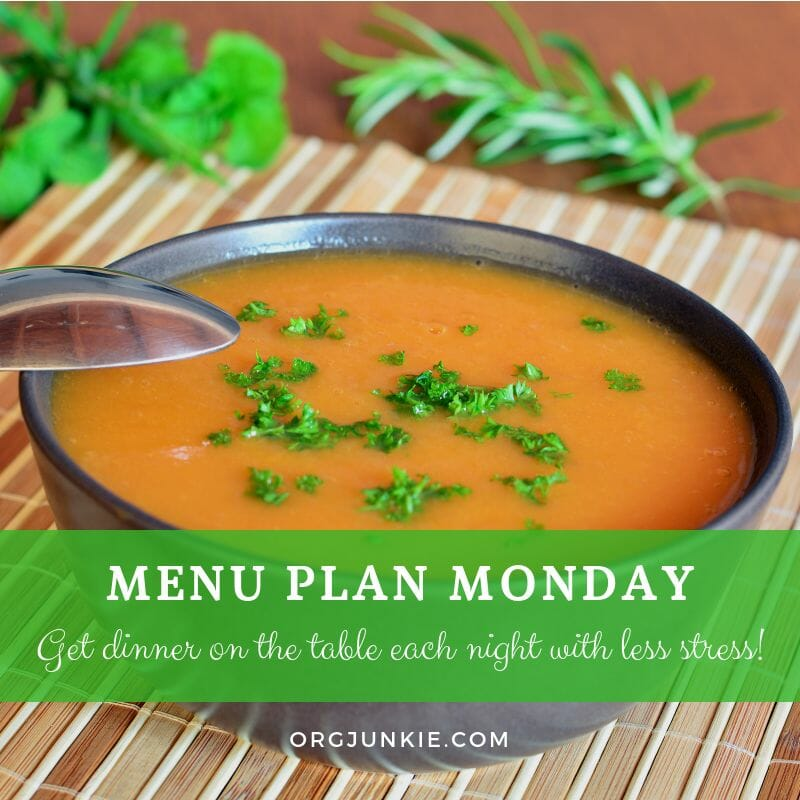 Menu Plan Monday for the week of Sept 26/18 - weekly dinner inspiration to help you get dinner on the table each night with less stress and chaos!