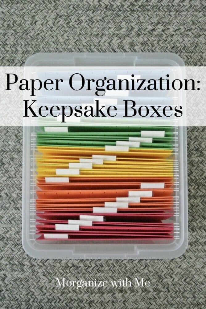 How Keepsake Boxes Can Be Used to Organize 5 Different Paper Piles in Your Life at I'm an Organizing Junkie blog