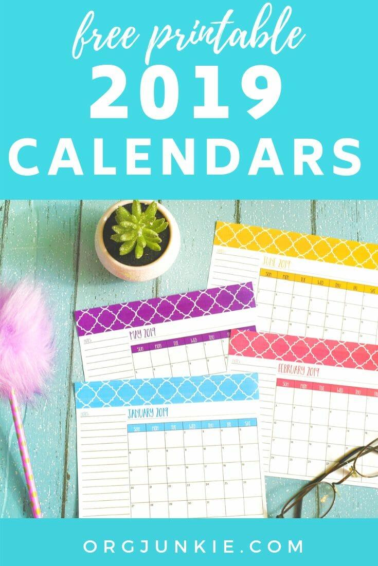 Free Printable 2019 Calendars at I'm an Organizing Junkie blog