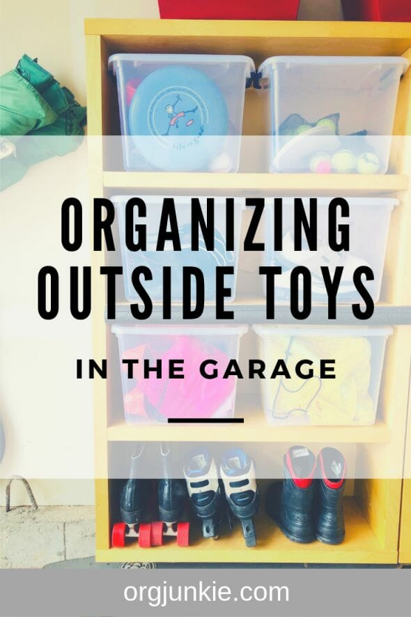 My Three Go-To Tips for Organizing Outside Toys in the Garage at I'm an Organizing Junkie blog
