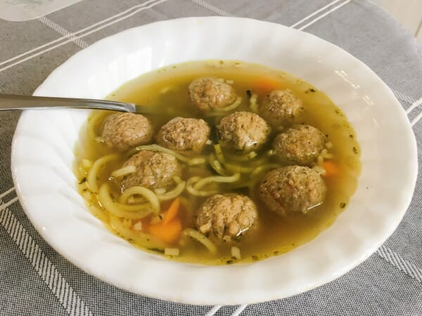 Slow Cooker Meatball Zoodle Soup