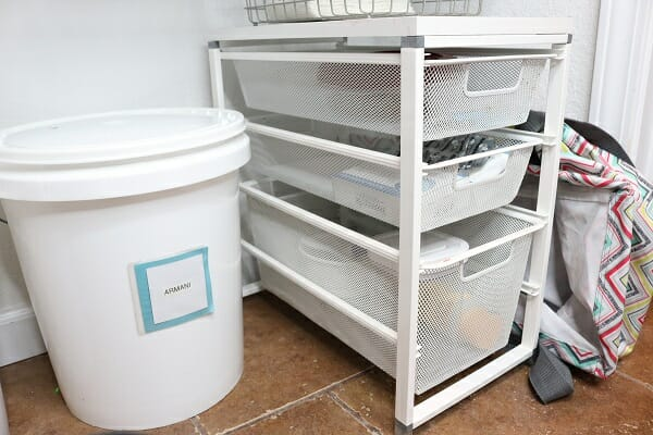 Simple inexpensive pet organization for all your pet stuff at I'm an Organizing Junkie blog