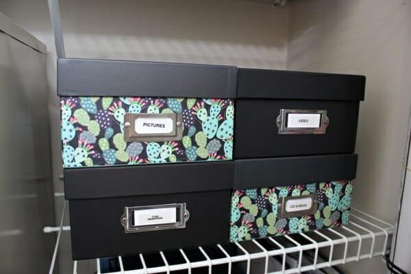 My Organized Office Closet - photo storage boxes