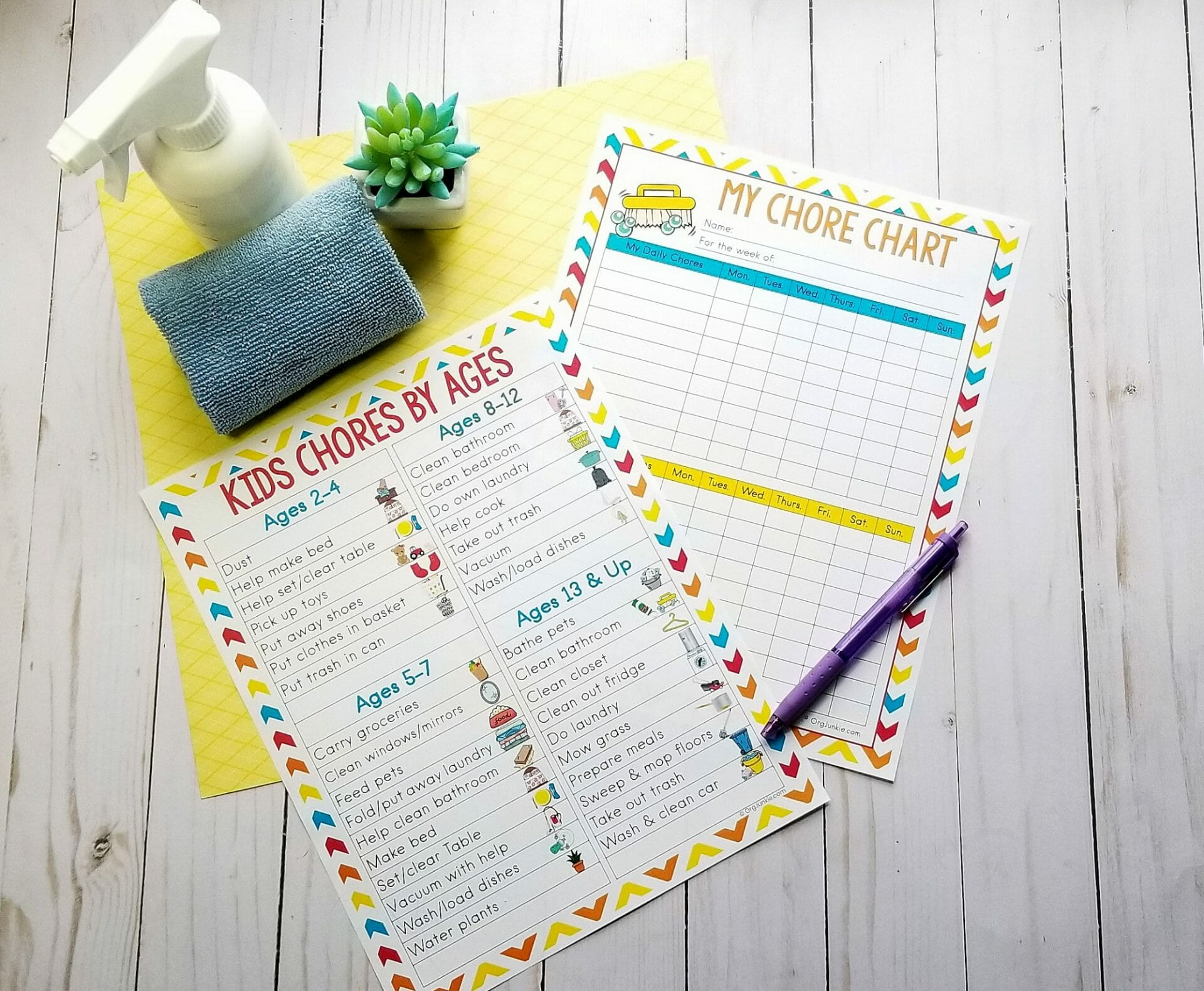 age appropriate chores for kids free printable!
