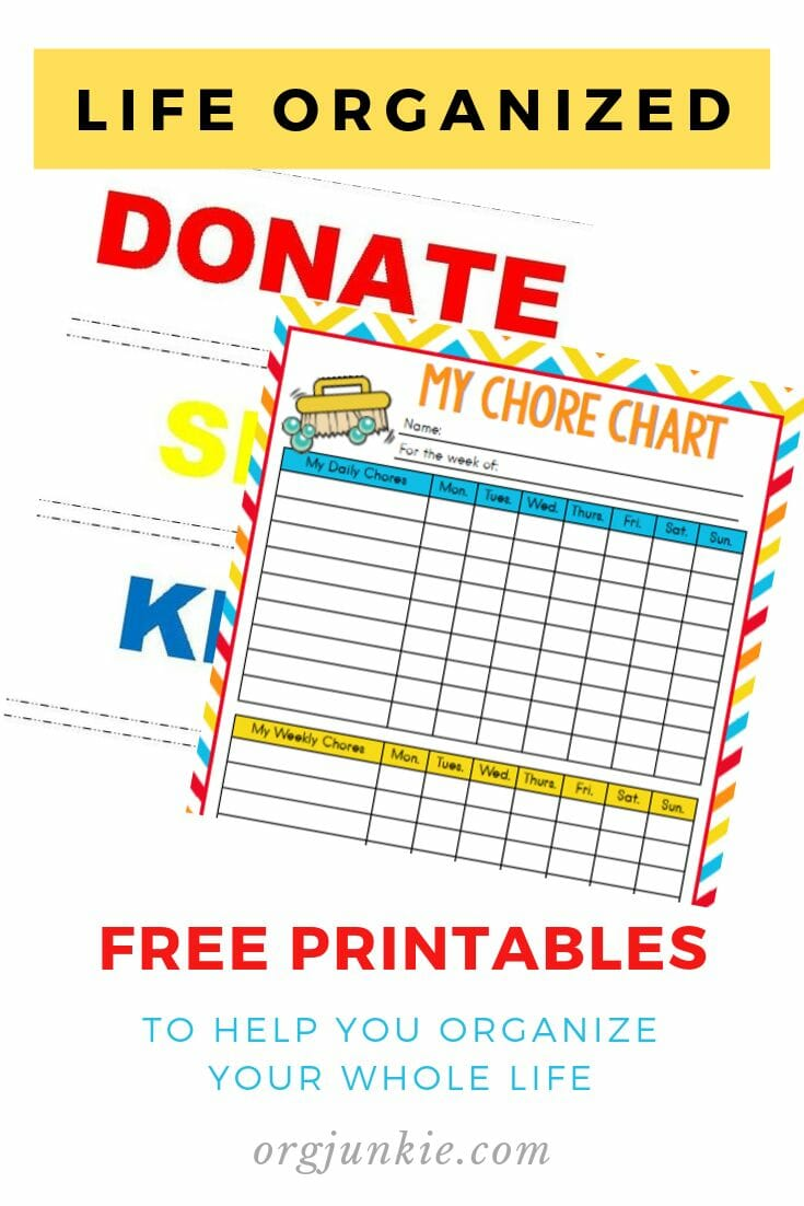 Free printables to help you organize your whole life at I'm an Organizing Junkie blog