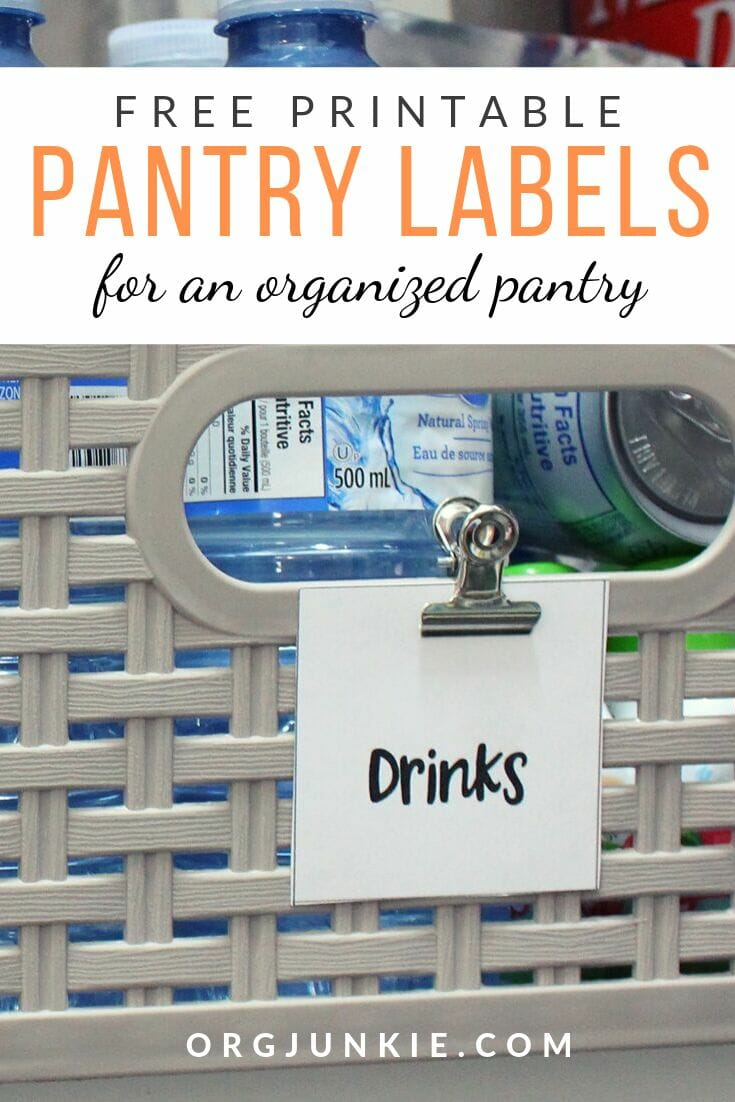 Free Printable Pantry Labels for an Organized Pantry at I'm an Organizing Junkie blog