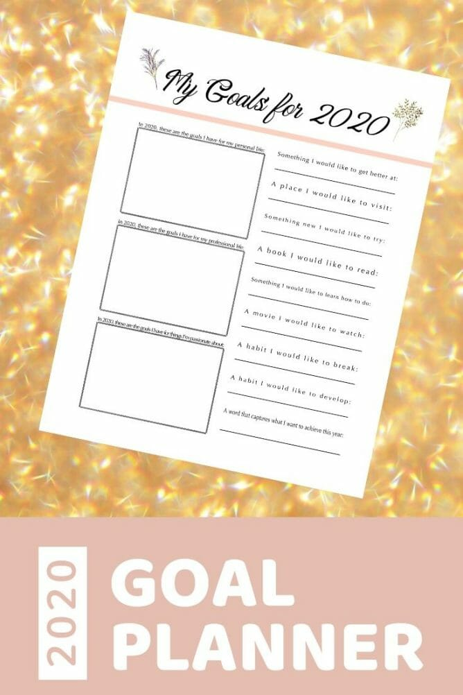 2020 Free Printable Goals Planner at I'm an Organizing Junkie blog