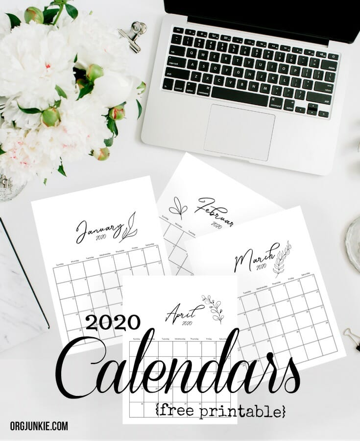 Free Printable 2020 Calendars at I'm an Organizing Junkie blog