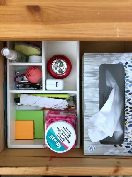 organized nightstand drawer