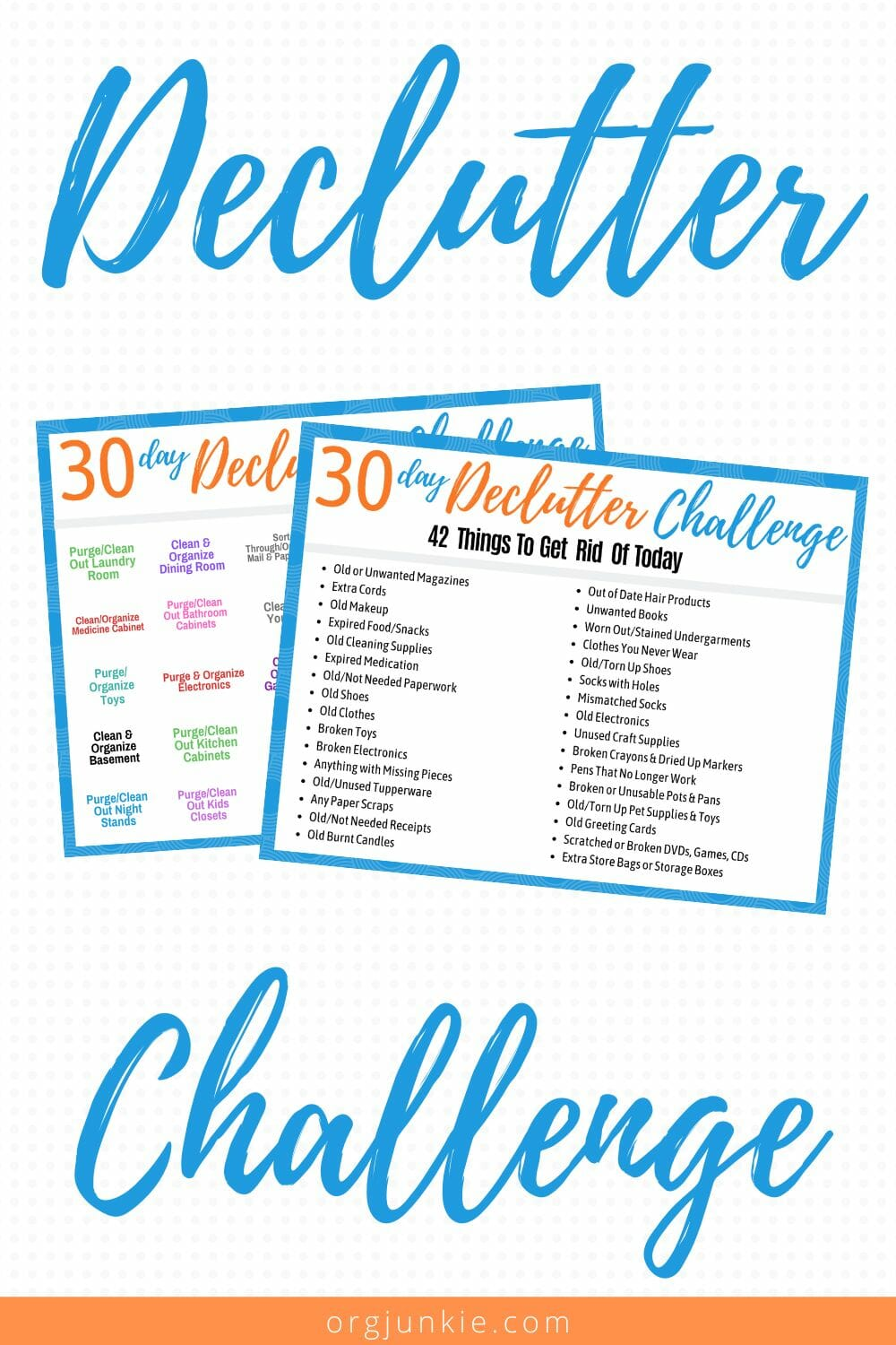 30 Day Declutter Challenge with Free Declutter Printables to Help! at I'm an Organizing Junkie