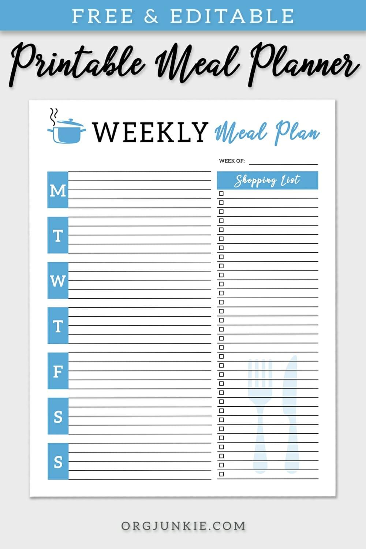 free printable editable menu planners