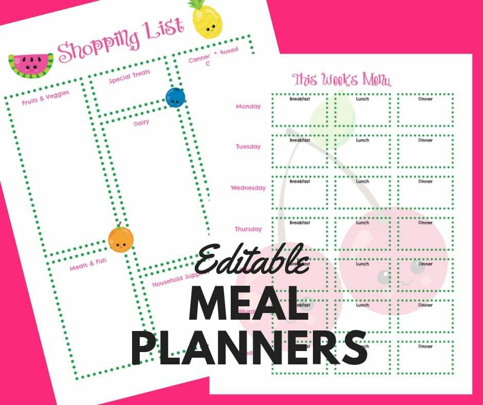 FREE Editable Weekly Menu Planners & Shopping List Templates