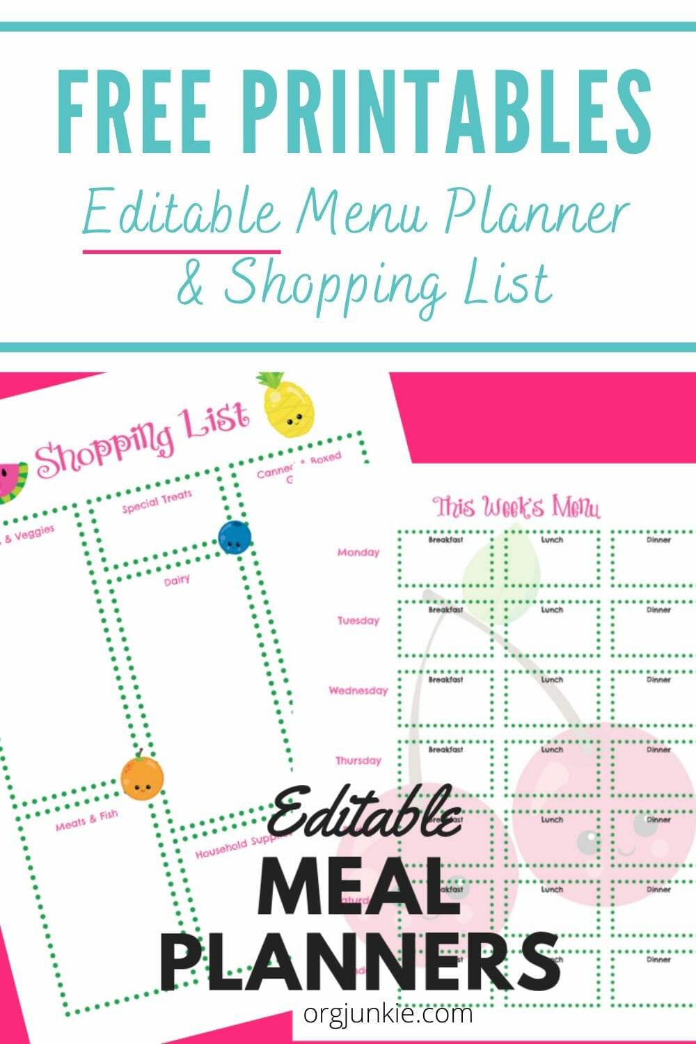 FREE Editable Weekly Menu Planners & Shopping List Templates at I'm an Organizing Junkie blog