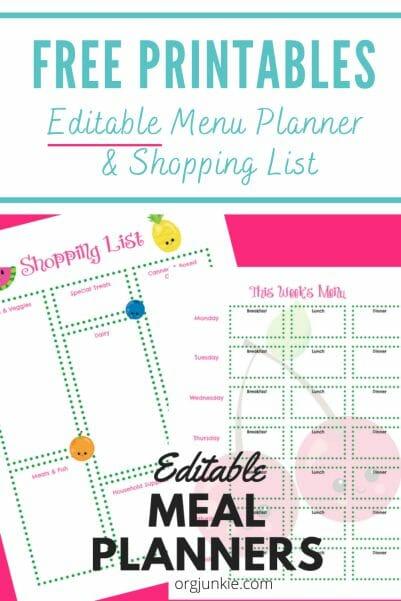 free editable menu planners