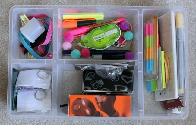 desk organization divided container